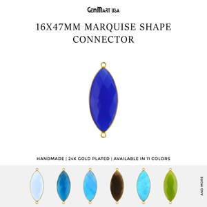 Marquise 16x47mm Double Bail Gold Bezel Gemstone Connector