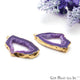 Agate Slice 34x22mm Organic Gold Electroplated Gemstone Earring Connector 1 Pair - GemMartUSA