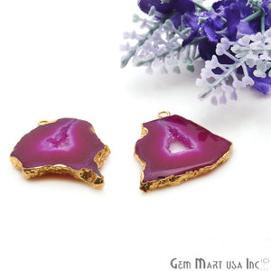 Agate Slice 28x30mm Organic Gold Electroplated Gemstone Earring Connector 1 Pair - GemMartUSA