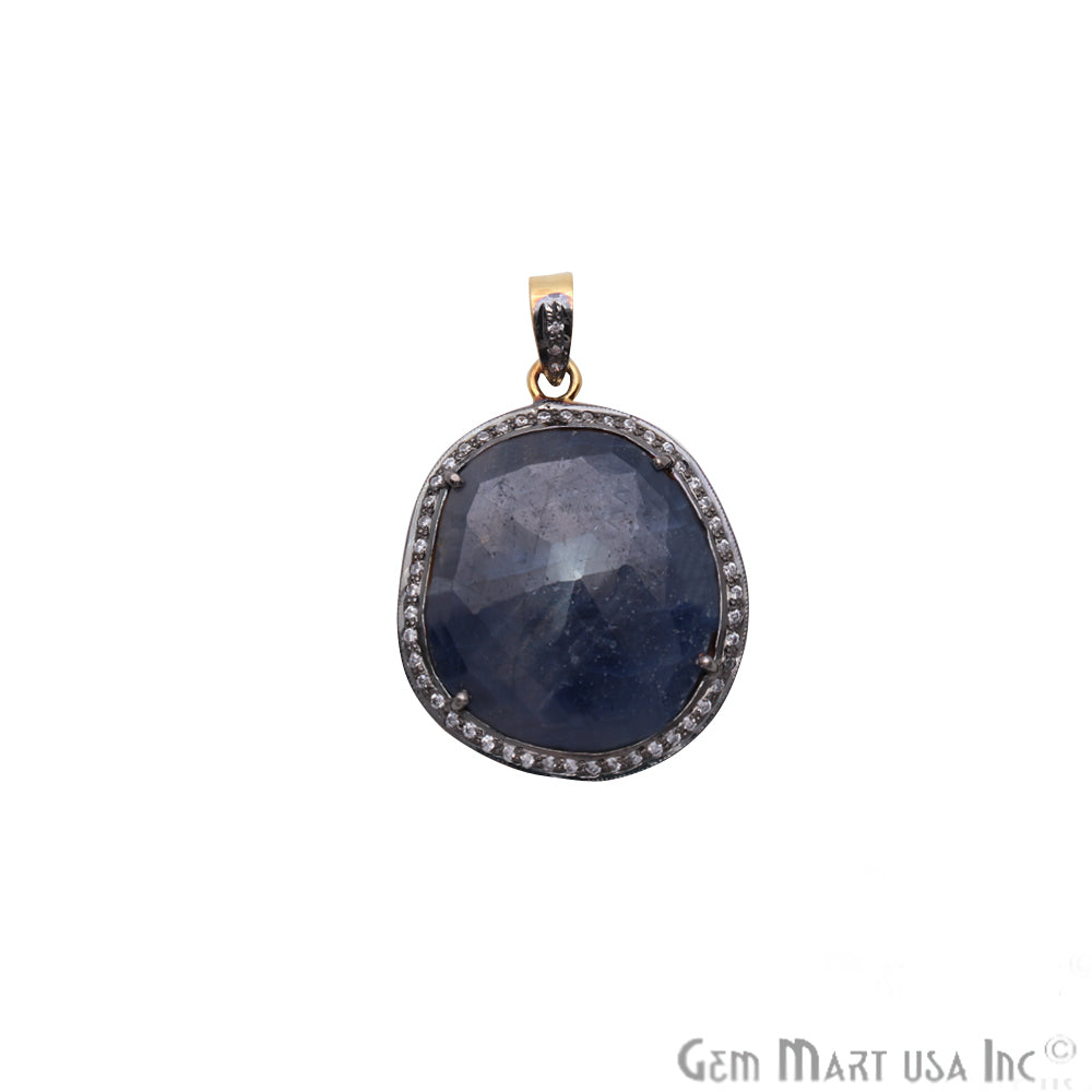 Blue Sapphire With Cubic Zircon 33x27mm Gold Vermeil Necklace Pendant