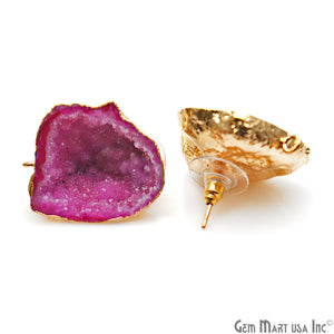DIY Agate Slice Geode Druzy 23x29mm Gold Electroplated Loop Connector Studs Earrings - GemMartUSA
