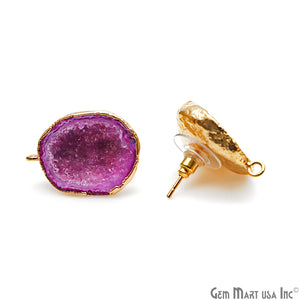 DIY Agate Slice Geode Druzy 24x20mm Gold Electroplated Loop Connector Studs Earrings - GemMartUSA