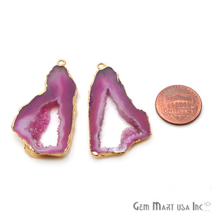 Agate Slice 44x25mm Organic Gold Electroplated Gemstone Earring Connector 1 Pair - GemMartUSA