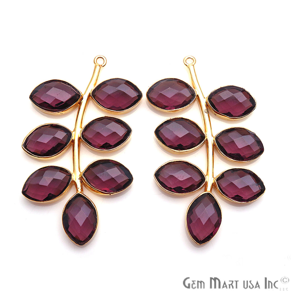 Gemstone Leaf 50x27mm Marquise Single Bail Jewelry Earring Connector 1Pair