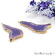 Agate Slice 47x19mm Organic  Gold Electroplated Gemstone Earring Connector 1 Pair - GemMartUSA