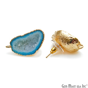DIY Agate Slice Geode Druzy 15x29mm Gold Electroplated Loop Connector Studs Earrings - GemMartUSA