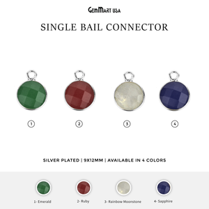 Round 8mm Single Bail Silver Plated Gemstone Bezel Connector