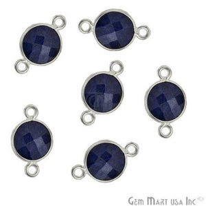 Round 8mm Double Bail Silver Plated Gemstone Bezel Connector