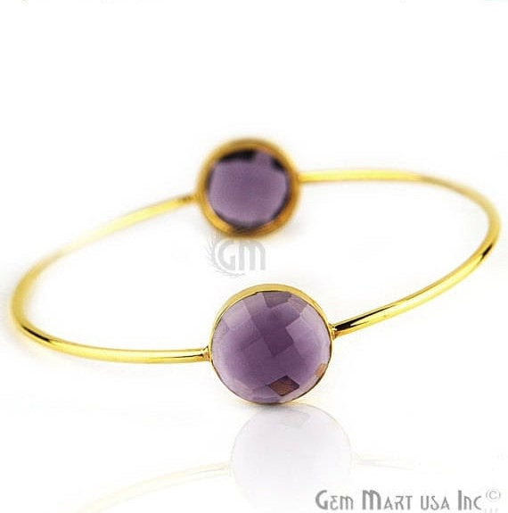 Natural Amethyst 14mm Round Shape Adjustable Interlock Gold Plated Stacking Bangle Bracelet