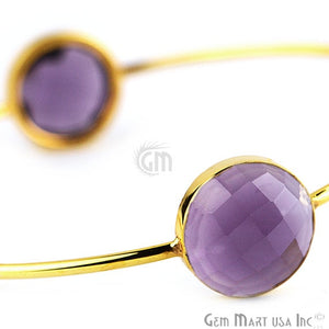 Amethyst 14mm Round Adjustable Interlock Gold Bangle Bracelet - GemMartUSA