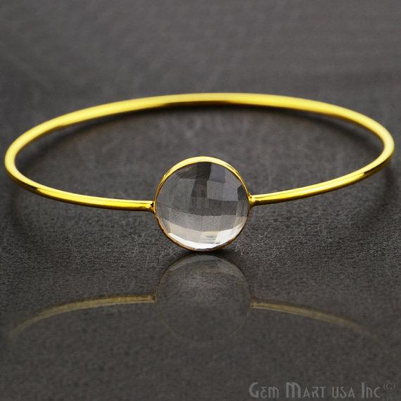Natural Crytsal 14mm Round Shape Gold Plated Stacking Bangle Bracelet