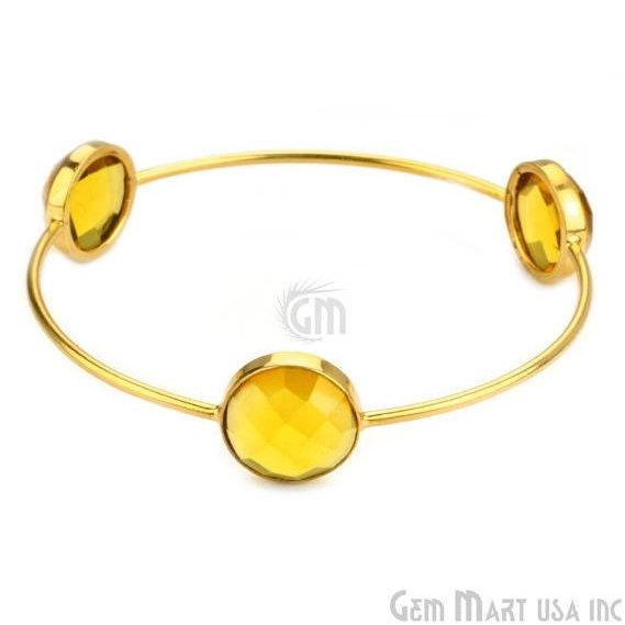 Citrine 14mm Round Shape Gold Plated Stacking Bangle Bracelet