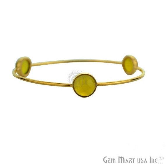 Natural Yellow Chalcedony 10mm Round Shape Stacking Bangle Bracelet