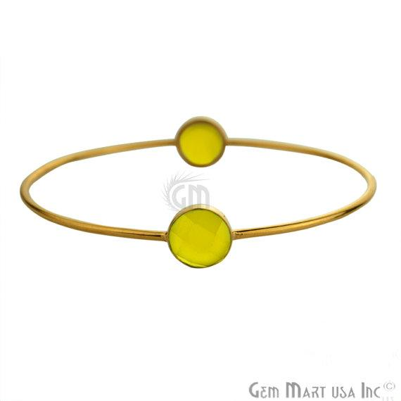 Natural Yellow Chalcedony 10mm Round Shape Gold Plated Stacking Bangle Bracelet