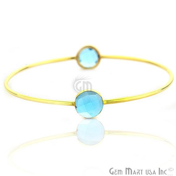 Blue Topaz 10mm Round Shape Gold Stacking Bangle Bracelet