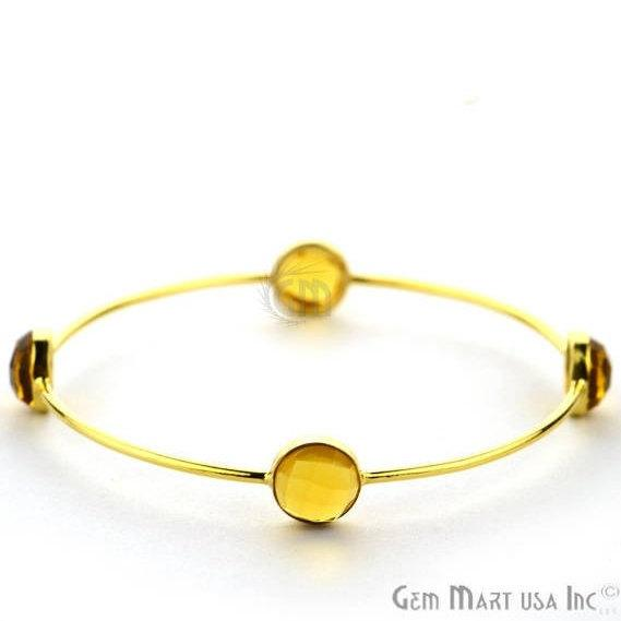 Citrine 10mm Round Shape Gold Plated Stacking Bangle Bracelet