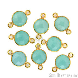 10 Pieces  G3002G-CR010 Brass Framed Polished Gold Plated Crystal Gemstone Connector