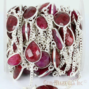 Natural Ruby 10-15mm Silver Plated Link Bezel Connector Chain