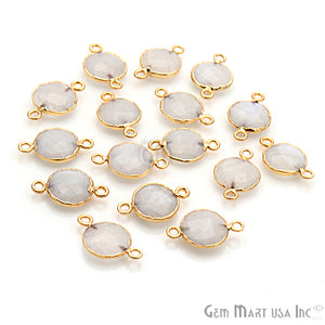 Rainbow Moonstone Round 12mm Gold Edged Gemstone Connector (Pick Your Bail & Lot) - GemMartUSA