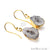 Geode Druzy Gemstone 24x12mm Gold Edge Dangle Hook Earrings