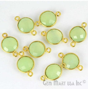 Round 10mm Double Bail Gold Plated Gemstone Bezel Connector (Pick Stone & Lot Size) - GemMartUSA