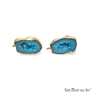 DIY Agate Slice Geode Druzy 32x20mm Gold Electroplated Loop Connector Studs Earrings - GemMartUSA