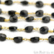 Black Spinel Coin 6-7mm Gold Plated Wire Wrapped Beads Rosary Chain
