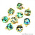 Abalone 12mm Cushion Shape Gold Electroplated Single Bail Gemstone Connector