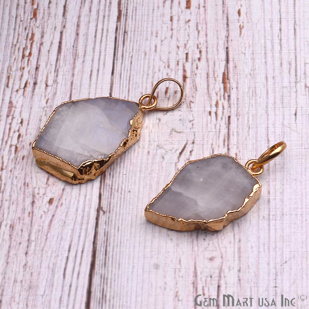 DIY Rough Rainbow Moonstone 32x19mm Gold Edge Necklace Pendant