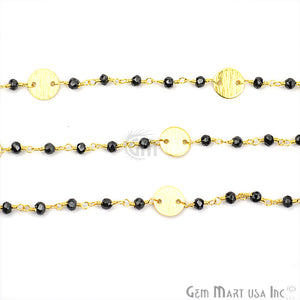 Black Spinel Faceted 3-3.5mm Gold Plated Wire Wrapped Beads Rosary Chain