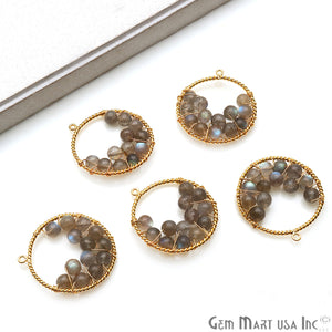 DIY Beaded Gemstone 34x31mm Gold Wire Wrapped Round Hoop Pendant Connector (Pick Stone) - GemMartUSA