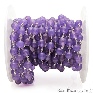 Dark Lavender Jade Faceted 8mm Silver Plated Wire Wrapped Rosary Chain - GemMartUSA