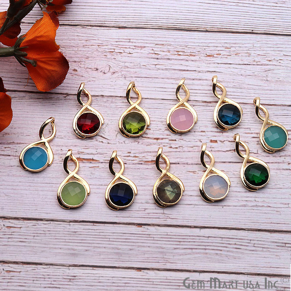 DIY Gemstone Gold Plated Connector Necklace Pendant 1pc (Pick Your Gemstone)