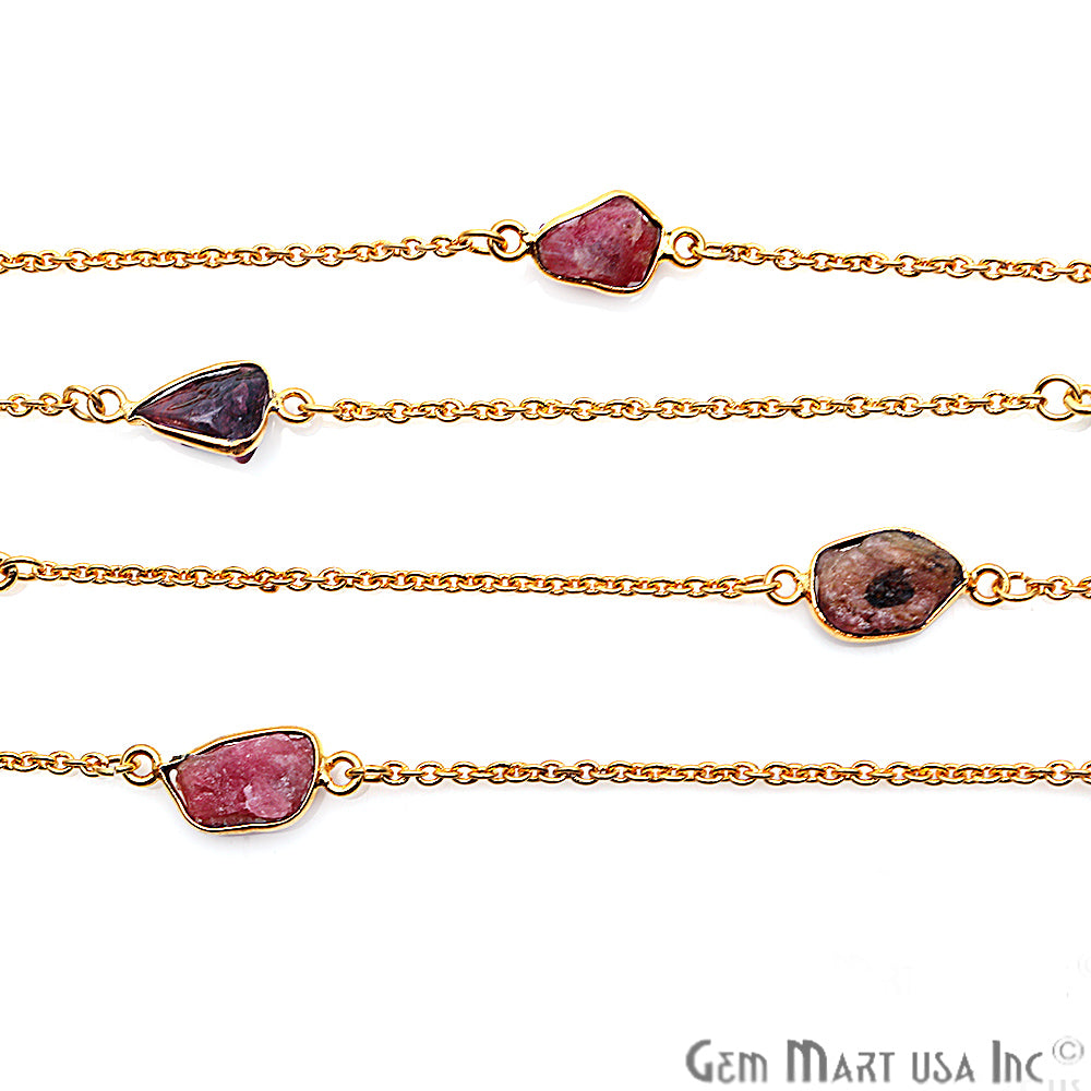 Multi Color Rough Gemstone Gold Plated Bezel Link Connector Chain