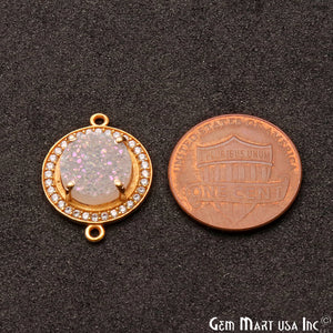 White Druzy Cubic Zircon Round 10mm Gold Plated Double Bail Connector (Pick Pave Color) - GemMartUSA