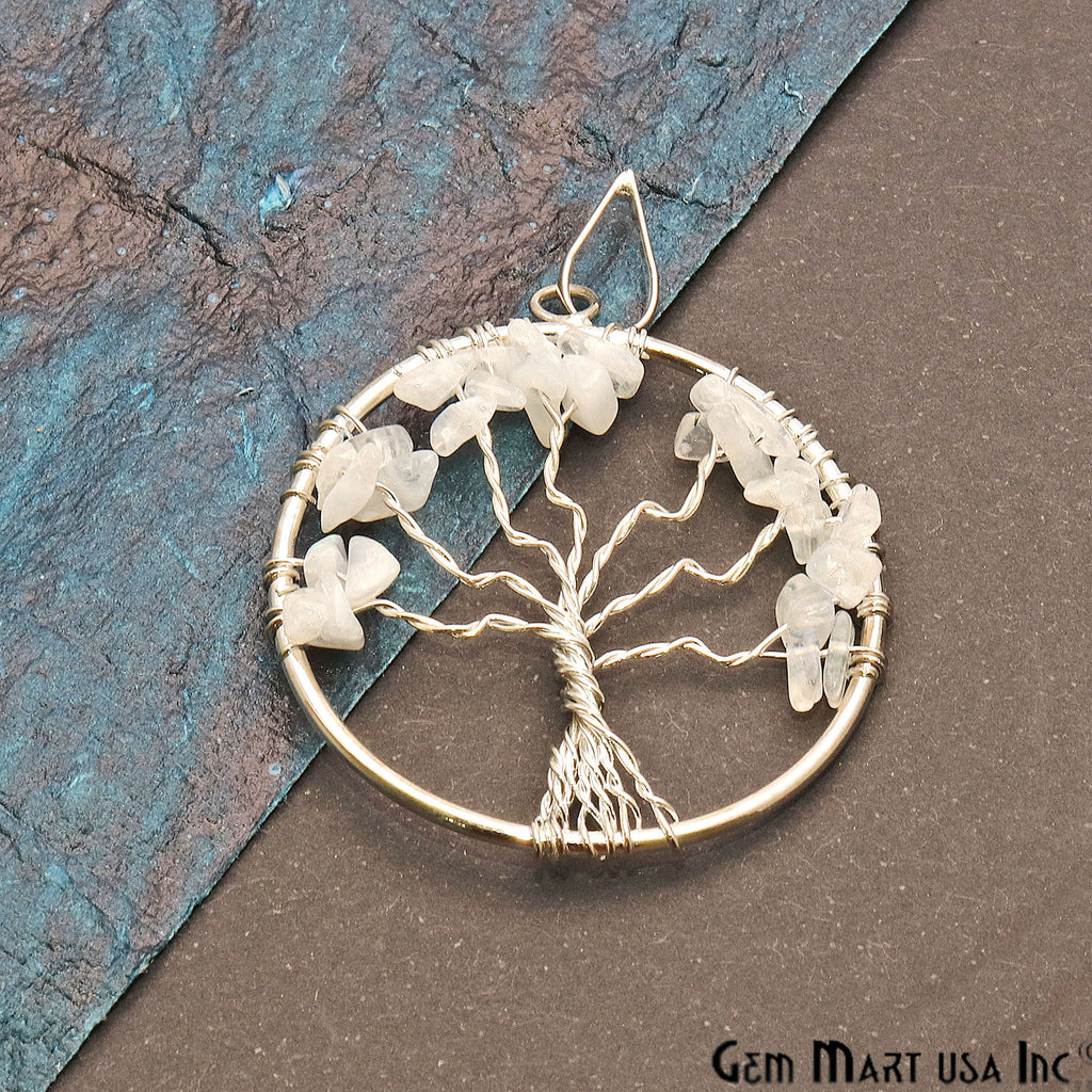 Tree of Life Moonstone Silver Wire Wrapped 45x40mm Chakra Pendant
