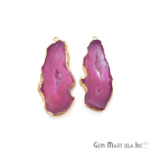 Agate Slice 24x56mm Organic Gold Electroplated Gemstone Earring Connector 1 Pair - GemMartUSA