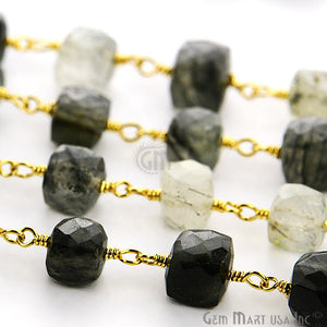 Rutilated Gold Plated Wire Wrapped Beads Rosary Chain