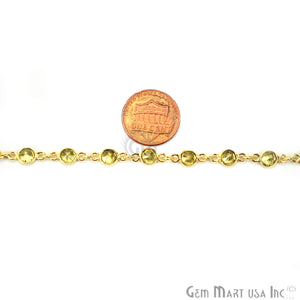 Lemon Topaz 4mm Round Gold Bezel Continuous Connector Chain