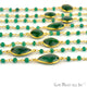 Emerald Beads 10mm Gold Plated Bezel Rosary Connector Chain - GemMartUSA