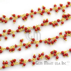 Red Coral Cluster Dangle Beads Gold Wire Wrapped Rosary Chain - GemMartUSA