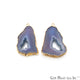 Agate Slice 40x27mm Organic Gold Electroplated Gemstone Earring Connector 1 Pair - GemMartUSA