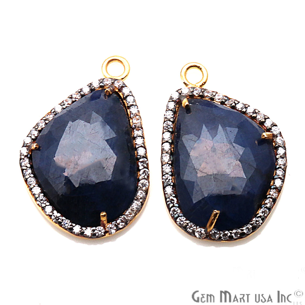 DIY Sapphire with Pave Cubic Zirconia 21x14mm Gold Vermeil Chandelier Earrings Connector 1 Pair