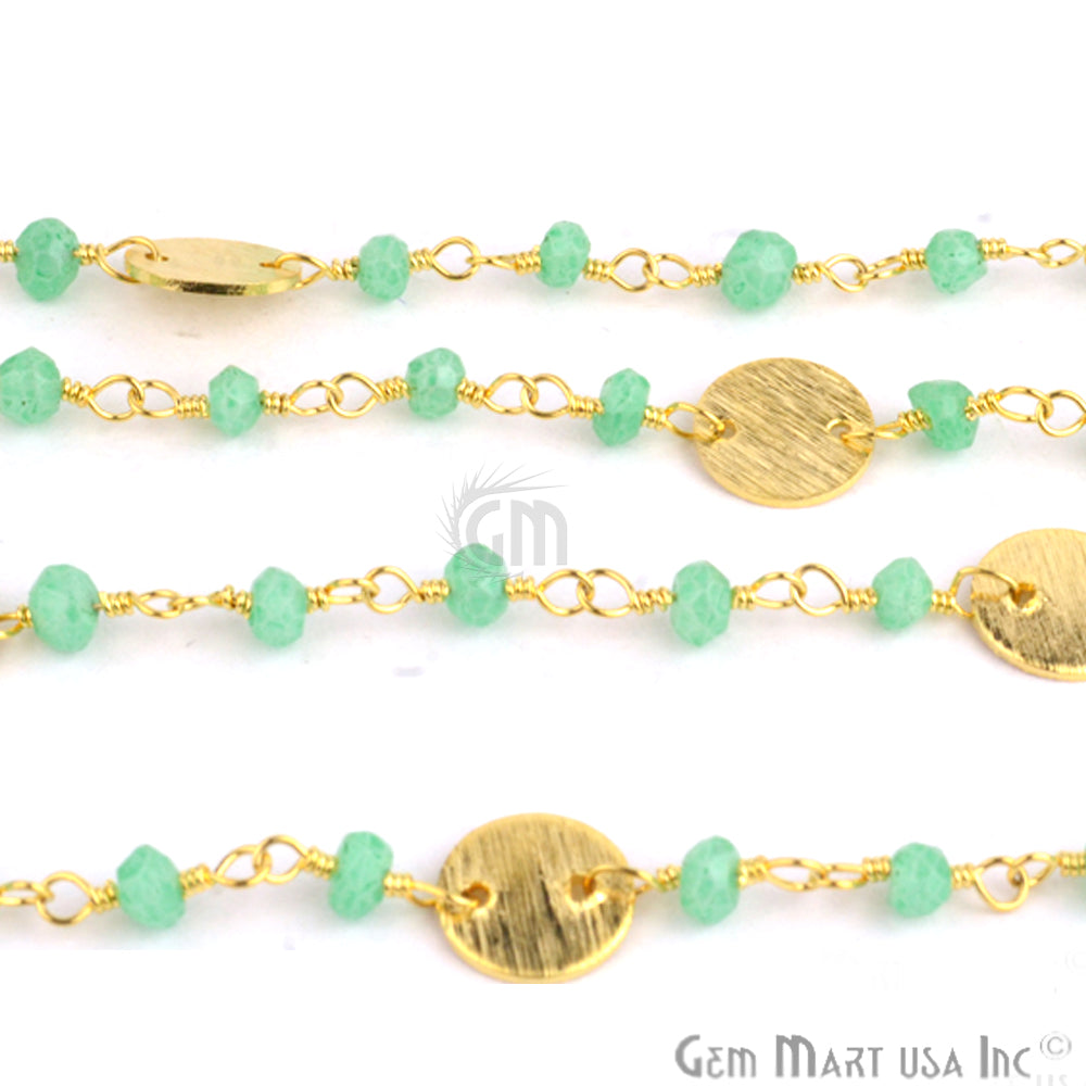Green Chalcedony Beads Wire Wrapped Gold Plated Chain Green Chalcedony 3-3.5 MM Faceted Rondelles Rosary Style Beaded Chain