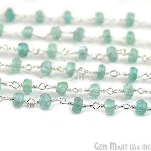 Apatite Silver Plated Wire Wrapped Beads Rosary Chain