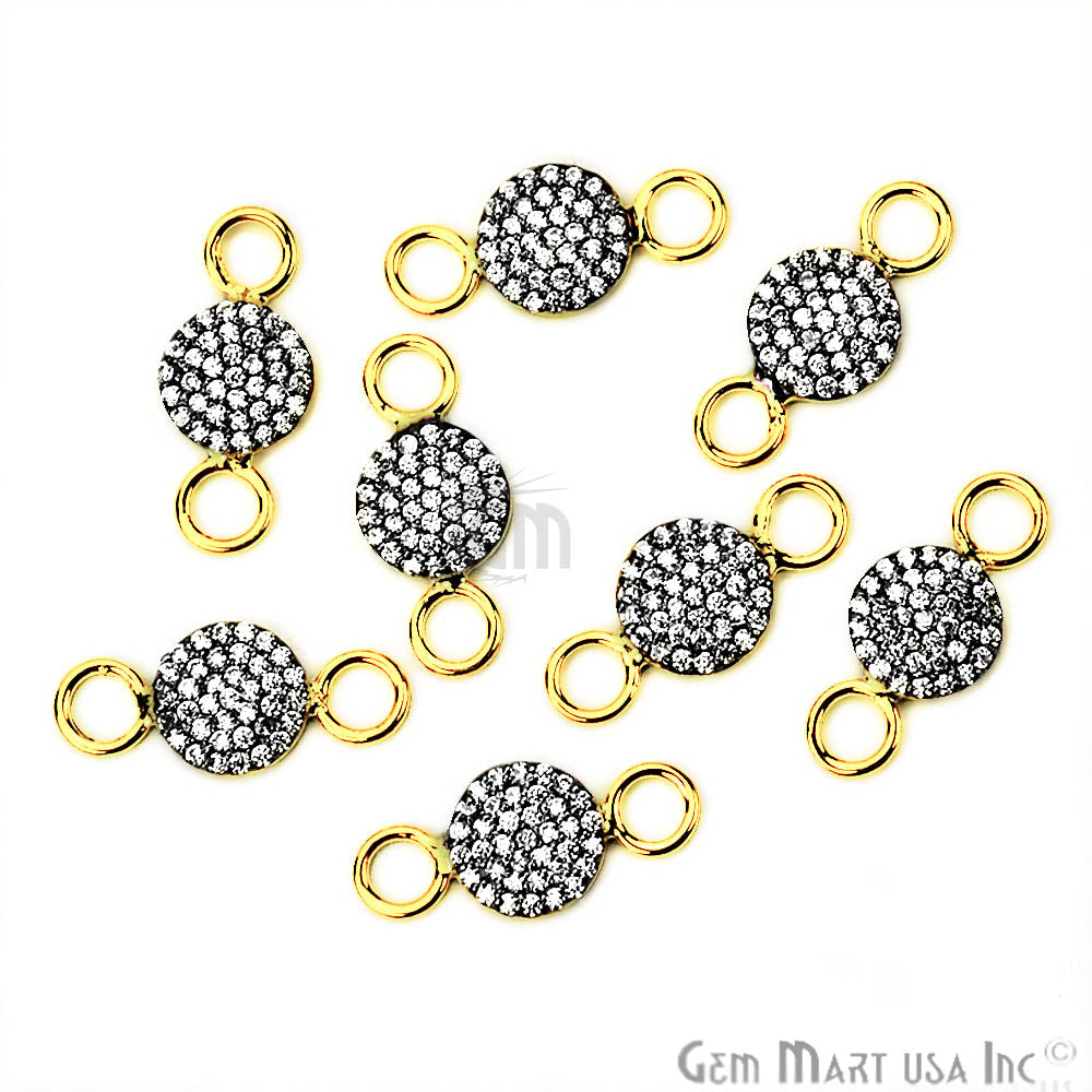 Cubic Zircon Pave 'Round' Shape Gold Vermeil Charm for Bracelet Pendants & Necklace