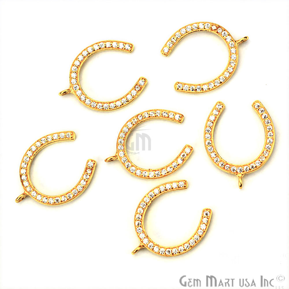 Cubic Zircon Pave 'Horseshoe' Shape Gold Vermeil Charm for Bracelet Pendants & Necklace