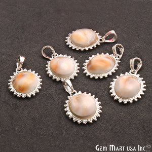 Natural Shell 28x22mm Oval Shape Silver Plated Single Bail Gemstone Pendant - GemMartUSA
