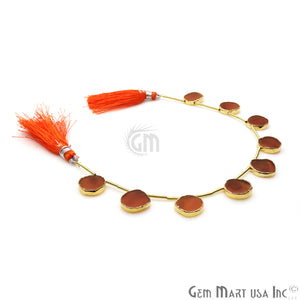 Carnelian Free Form Gold Electroplated 18x15mm Crafting Beads Gemstone 9 Inch Strands - GemMartUSA