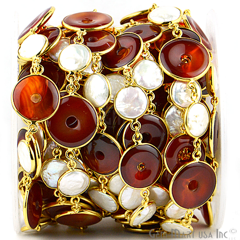 Carnelian Coin & Pearl Bezel Link Gold Plated Continuous Connector Chain